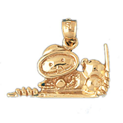 Scuba Diving Diver with Mask Charm Pendant 14k Gold