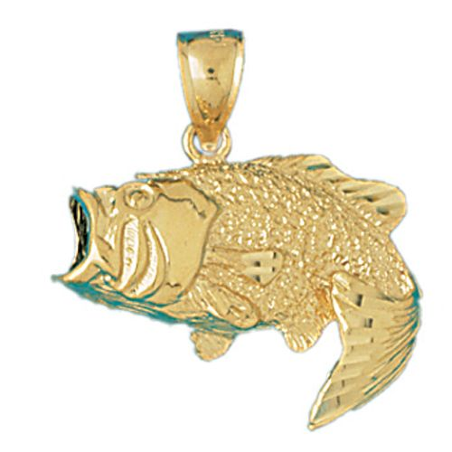 Sea Bass Fish Charm Pendant 14k Gold