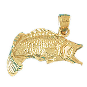 3D Sea Bass Fish Charm Pendant 14k Gold
