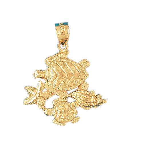 Double Sea Turtle Charm Pendant 14k Gold