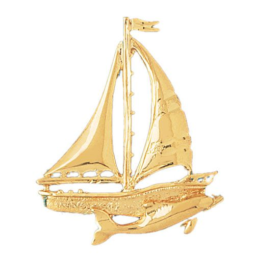 Sailboat and Dolphin Charm Pendant 14k Gold