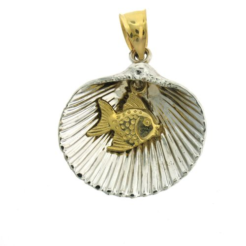 Seashell Fish Charm Pendant 14k Two Tone Gold