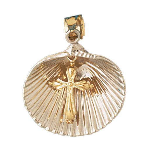 Seashell Cross Charm Pendant 14k Two Tone Gold