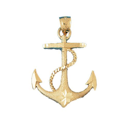Ship Anchor Charm Pendant 14k Gold