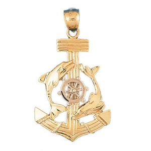 Ship Anchor and Double Dolphin Charm Pendant 14k Two Tone Gold