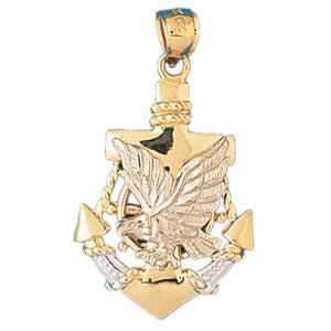Ship Anchor and Eagle Charm Pendant 14k Two Tone Gold