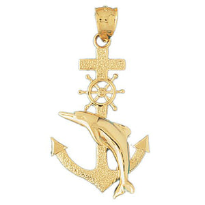 Ship Anchor and Dolphin Charm Pendant 14k Gold