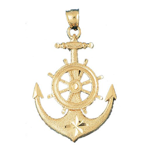 Ship Anchor and Wheel Charm Pendant 14k Gold