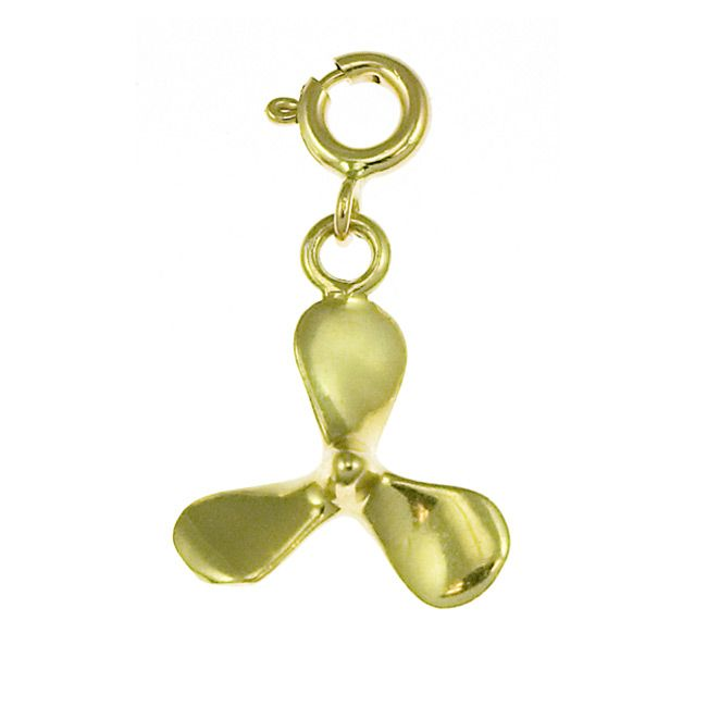 Ship Propeller Charm Pendant 14k Gold