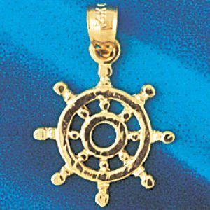 Ship Wheel Charm Pendant 14k Gold