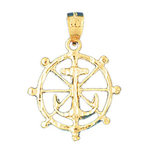 Ship Wheel and Anchor Charm Pendant 14k Gold