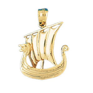3D Sailboat Charm Pendant 14k Gold