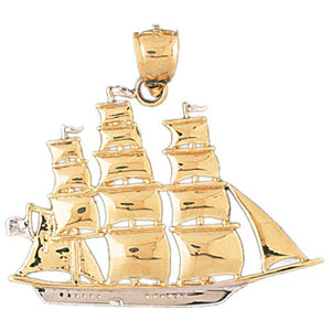 Sailboat Charm Pendant 14k Two Tone Gold