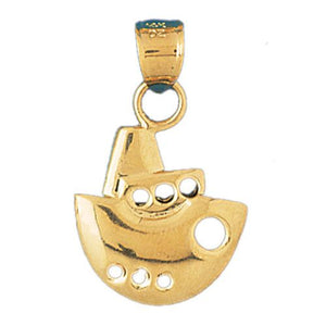 Cruise Ship Charm Pendant 14k Gold
