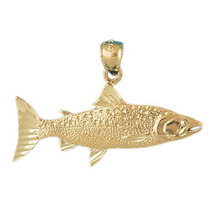 Salmon Fish Charm Pendant 14k Gold