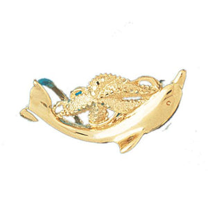 Octopus and Dolphin Slide Charm Pendant 14k Gold