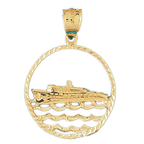 Ship Charm Pendant 14k Gold