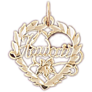 Hawaii Heart Charm Pendant 14k Gold