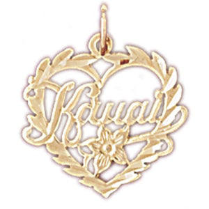 Kauai Hawaii Heart Charm Pendant 14k Gold