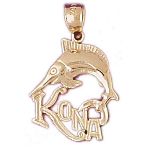 Kona Hawaii Sword Fish Charm Pendant 14k Gold