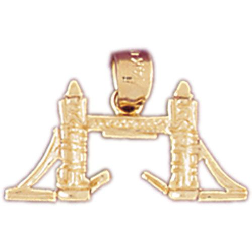 3D London Bridge Charm Pendant 14k Gold
