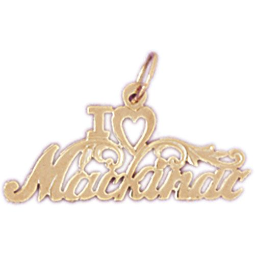 I Love Mackinac Charm Pendant 14k Gold