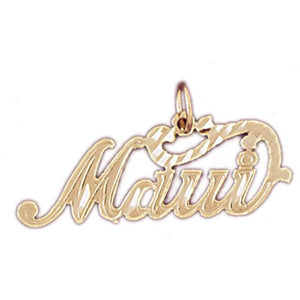 Maui Hawaii Charm Pendant 14k Gold