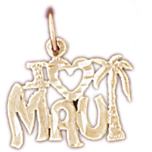 I Love Maui Hawaii Charm Pendant 14k Gold