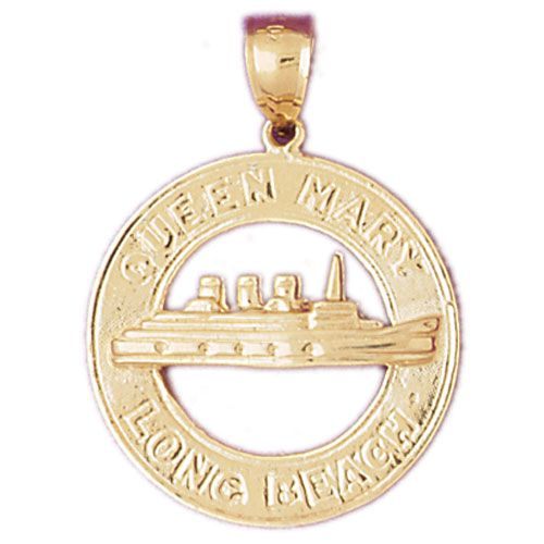 Queen Mary Long Beach Charm Pendant 14k Gold