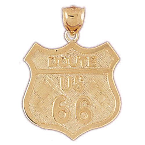 Route US 66 Sign Charm Pendant 14k Gold
