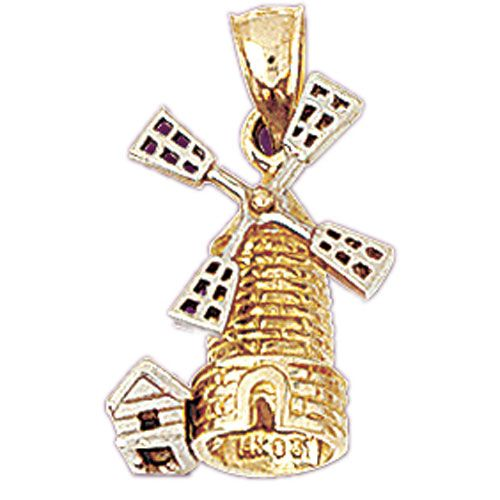 Windmill Two Tone Charm Pendant 14k Yellow and White Gold