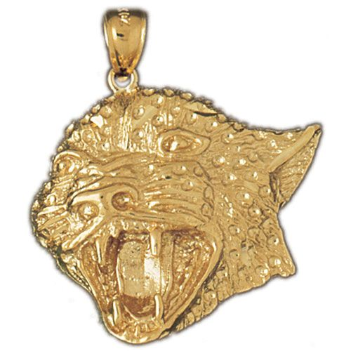 Panther Head Pendant 14k Gold