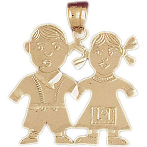 Baby Boy And Girl Charm Pendant 14k Gold