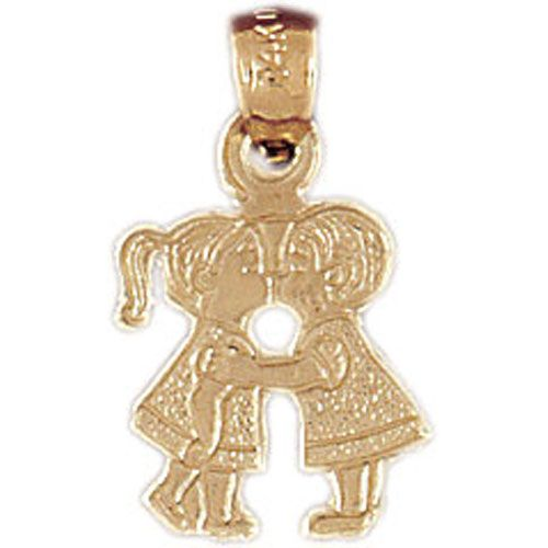 Kissing Boy And Girl Charm Pendant 14k Gold