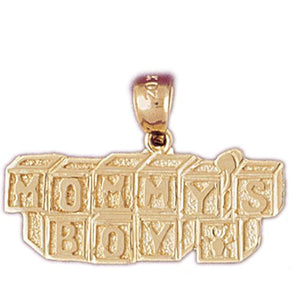 Mommy' s Boy Charm Pendant 14k Gold