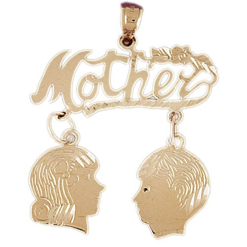 Mother Charm Pendant 14k Gold