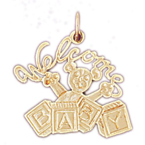 Welcome Baby Charm Pendant 14k Gold