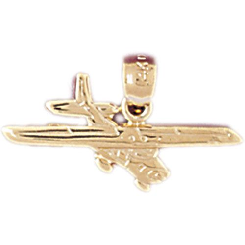 Airplane Jet Charm Pendant 14k Gold