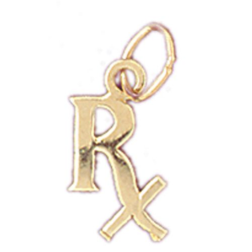 RX Medical Sign Charm Pendant 14k Gold