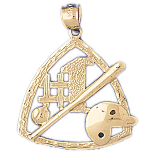 Baseball Number 1 Bat and Glove Charm Pendant 14k Gold
