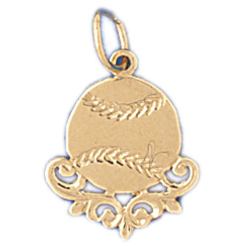 Baseball Ball Charm Pendant 14k Gold