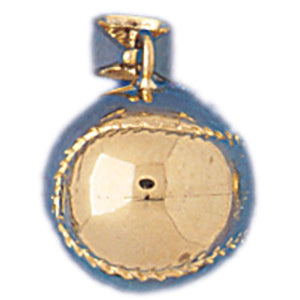 Baseball Ball 3 Dimensional Charm Pendant 14k Gold