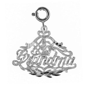 Number One Grandma Charm Pendant 14k White Gold
