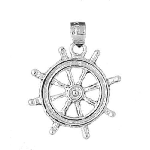 Ship Wheel Charm Pendant 14k White Gold