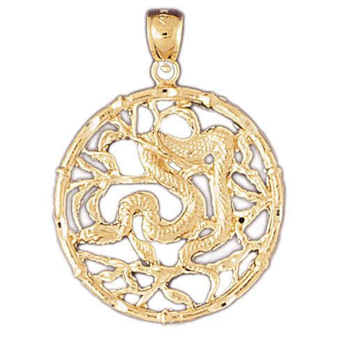 Snake Chinese Zodiac Sign Charm Pendant 14k Gold