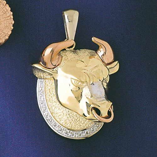 Taurus Zodiac Sign Three Tone Charm Pendant 14k Gold
