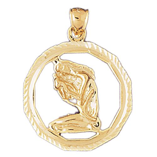 Virgo Zodiac Sign Charm Pendant 14k Gold