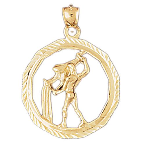 Aquarius Zodiac Sign Charm Pendant 14k Gold