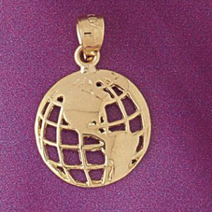 Earth Charm Pendant 14k Gold