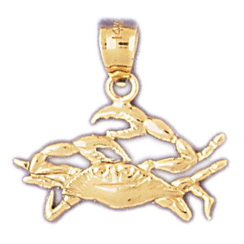 Cancer Zodiac Sign Charm Pendant 14k Gold